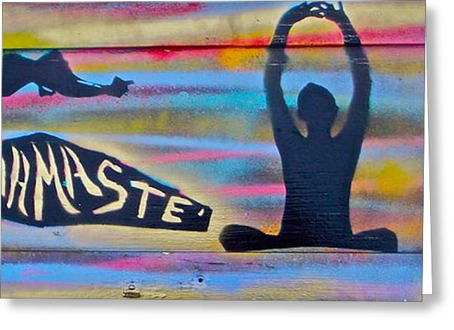 Law Of Attraction Greeting Cards - Namaste Yoga Greeting Card by Tony B Conscious
