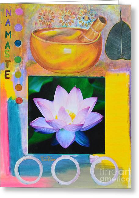 Water Lilly Mixed Media Greeting Cards - Namaste with Singing Bowl Greeting Card by To-Tam Gerwe