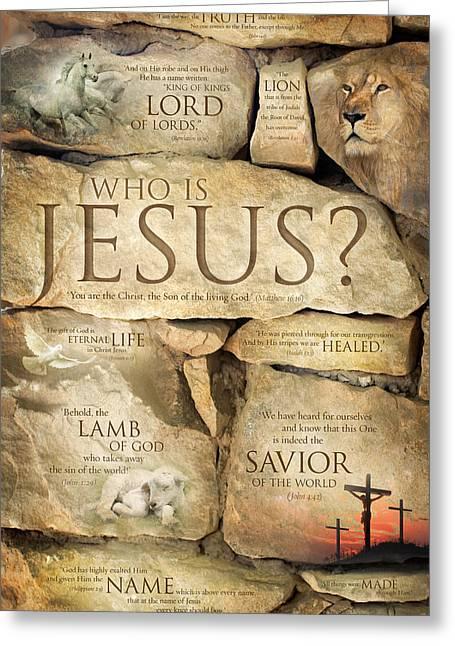 Best Sellers -  - Motivational Poster Greeting Cards - Names of Jesus Christ - Inspirational Christian Art Poster Greeting Card by David Sorensen
