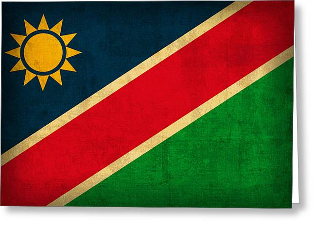 National Mixed Media Greeting Cards - Namibia Flag Vintage Distressed Finish Greeting Card by Design Turnpike
