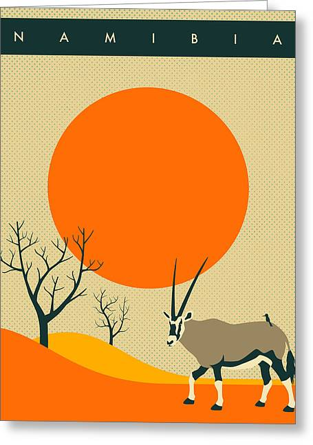 Namibia Travel Poster Greeting Card by Jazzberry Blue
