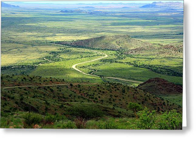 Mountain Valley Greeting Cards - Namibian Landscape Greeting Card by Aidan Moran