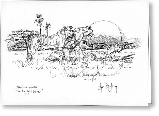 Pen And Paper Greeting Cards - Namibian Lionesses Greeting Card by Lynn  De Lacey