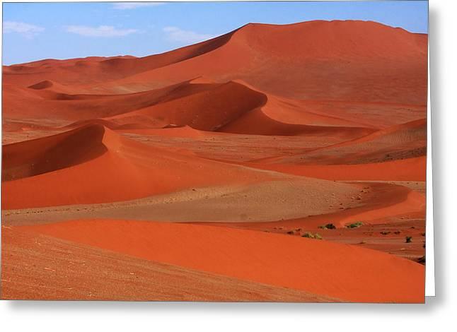 Desert Prints Greeting Cards - Namibian Red Sand Dunes  Greeting Card by Aidan Moran