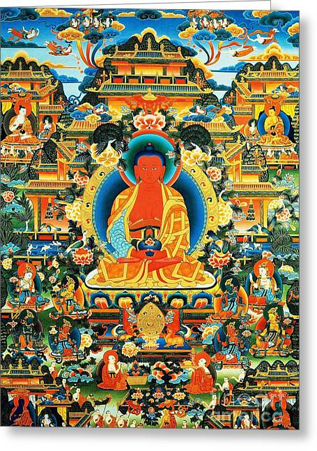 Hindu Goddess Greeting Cards - Namo Amitabha Buddha 24 Greeting Card by Lanjee Chee