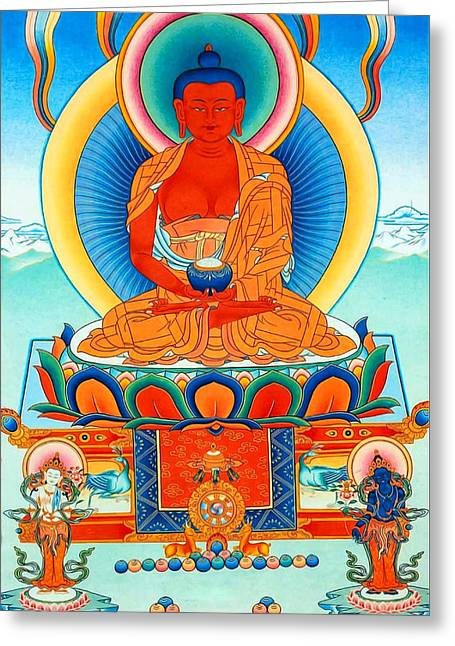 Recently Sold -  - Tibetan Buddhism Greeting Cards - Namo Amitabha Buddha 35 Greeting Card by Lanjee Chee