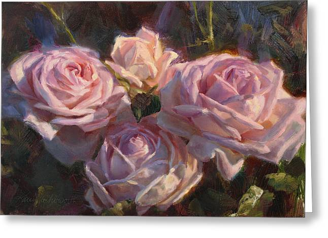First-lady Greeting Cards - Nanas Roses Impressionistic Oil Painting of Beautiful Flowers Greeting Card by Karen Whitworth