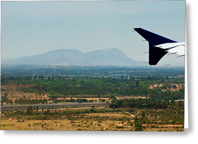 Nandi Greeting Cards - Nandi Hills - landing at Bangalore airport Greeting Card by Saurav Pandey