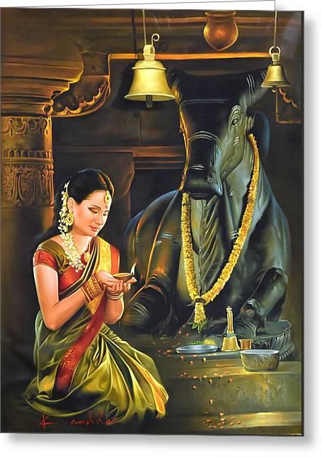 Nandi Greeting Cards - Nandi Temple Greeting Card by Kamal  Rao