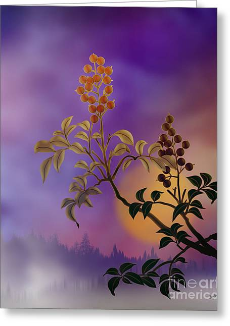 Fog Mixed Media Greeting Cards - Nandina The Beautiful Greeting Card by Bedros Awak