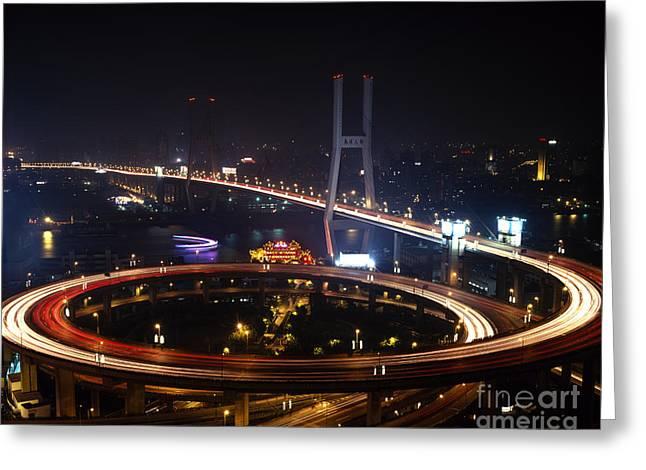 Huangpu River Greeting Cards - Nanpu Bridge Greeting Card by Rafael Macia