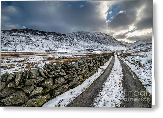 Sun Rays Digital Art Greeting Cards - Nant Ffrancon Pass Greeting Card by Adrian Evans