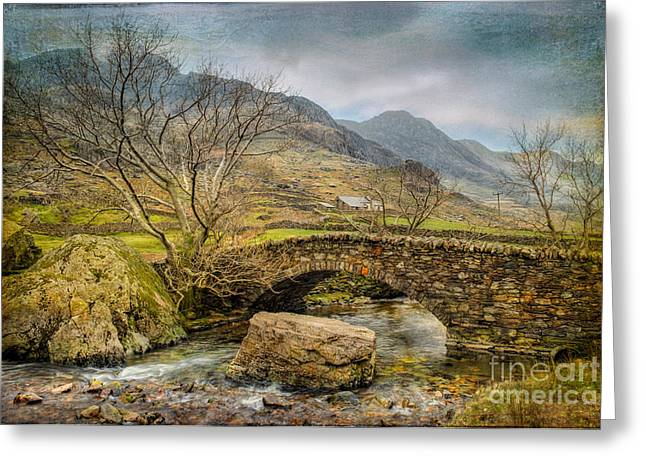Stones Digital Art Greeting Cards - Nant Peris Pass Greeting Card by Adrian Evans