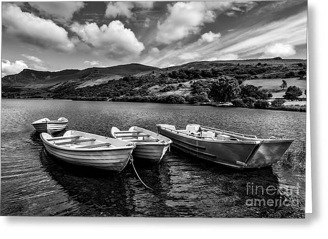 Black And White Hdr Greeting Cards - Nantlle Uchaf Boats Greeting Card by Adrian Evans