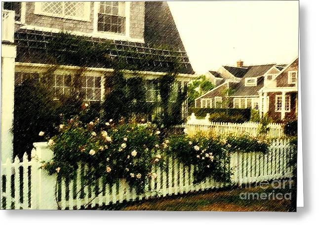 Desiree Rose Greeting Cards - Nantucket Cottage Greeting Card by Desiree Paquette