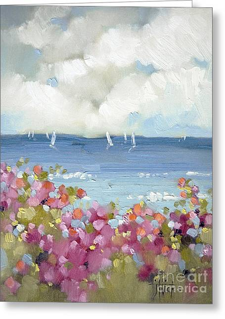 Blue Sailboat Greeting Cards - Nantucket Sea Roses Greeting Card by Joyce Hicks