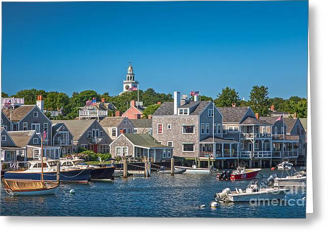 Recently Sold -  - Boats In Harbor Greeting Cards - Nantucket Town Greeting Card by Susan Cole Kelly