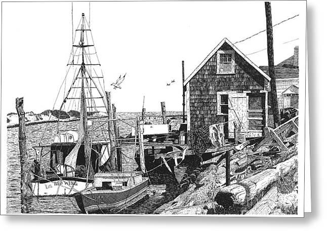 Sailboats Docked Drawings Greeting Cards - Nantucket Wharf Greeting Card by Paul Kmiotek