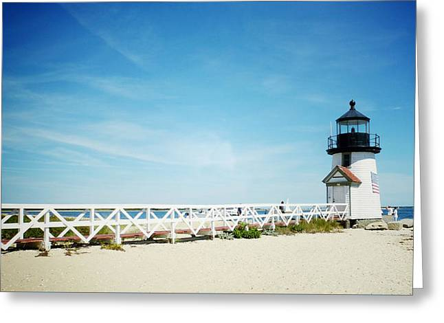 Nantucket's Brant Point Lighthouse Greeting Card by Natasha Marco