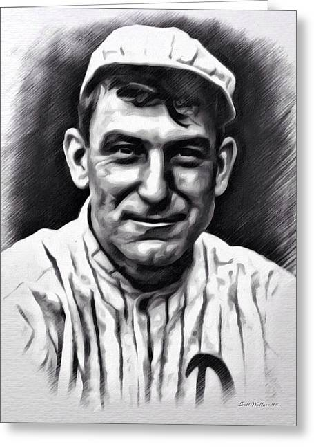 1874 Greeting Cards - Nap Lajoie Portrait MLB Greeting Card by Scott Wallace