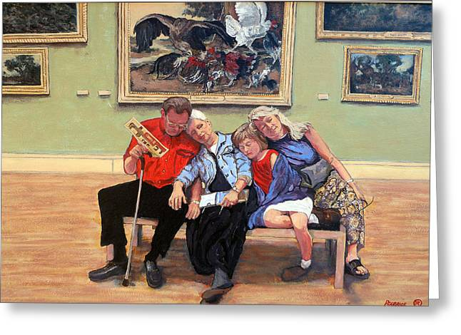 Royal Family s Paintings Greeting Cards - Nap Time at the Louvre Greeting Card by Tom Roderick