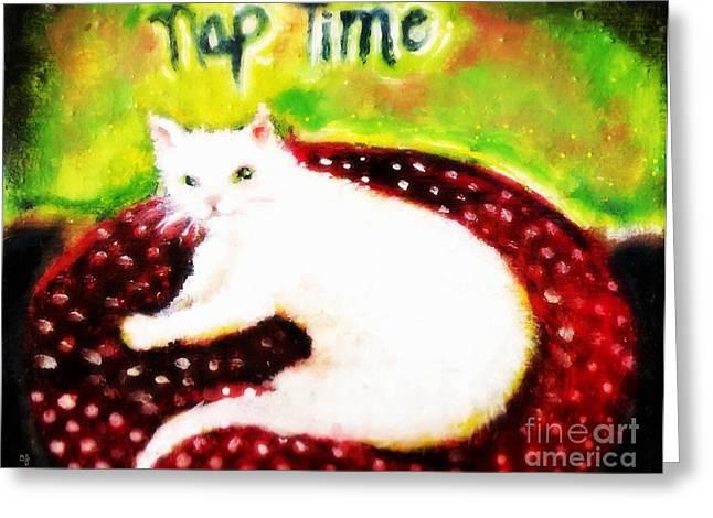 Catnap Greeting Cards - Nap Time Greeting Card by Barbara LeMaster