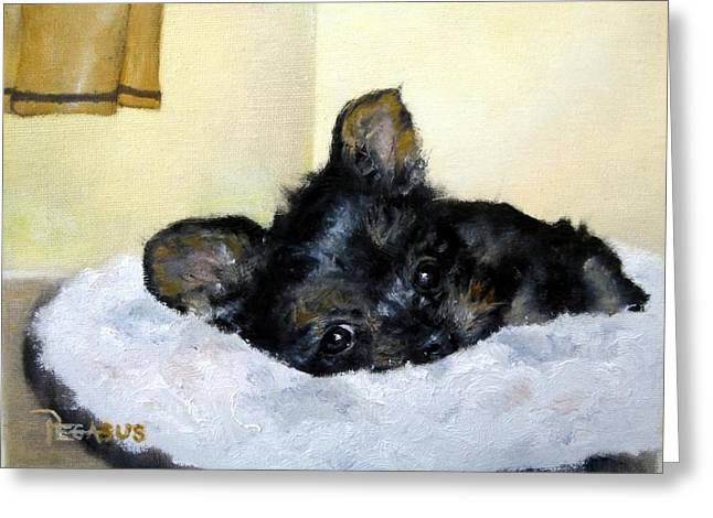Nap Time For Puppy Greeting Card by Beverly Pegasus