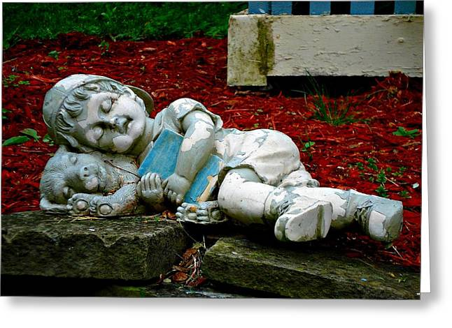 Best Sellers -  - Garden Statuary Greeting Cards - Nap Time Greeting Card by Mary Marsh