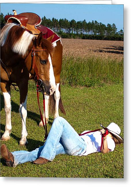 Rider With Hat Greeting Cards - Nap Time Greeting Card by Mechala  Matthews