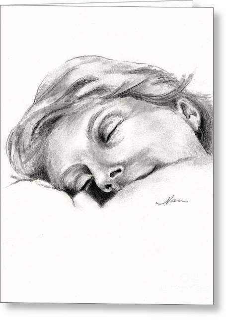 Slumber Drawings Greeting Cards - Nap Time Greeting Card by Nan Wright