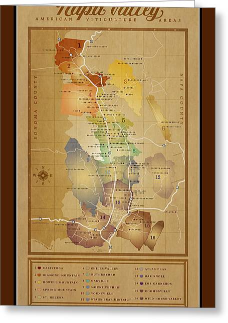 Napa Valley Digital Greeting Cards - Napa Valley AVA Map Greeting Card by Marc Bell