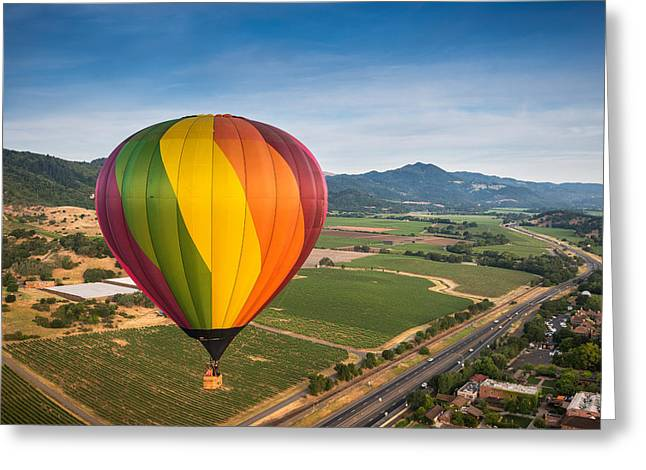 Napa Greeting Cards - Napa Valley Balloon Aloft Greeting Card by Steve Gadomski