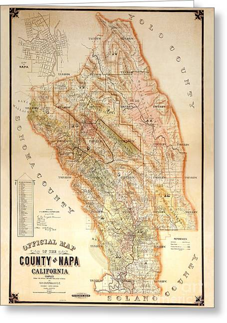 Wine Bottle Greeting Cards - Napa Valley Map 1895 Greeting Card by Jon Neidert