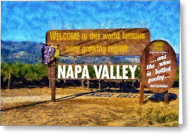 Wine Tour Greeting Cards - Napa Valley Sign Greeting Card by Kaylee Mason
