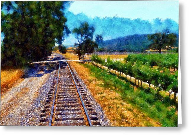 Calistoga Digital Art Greeting Cards - Napa Valley Tracks Greeting Card by Kaylee Mason