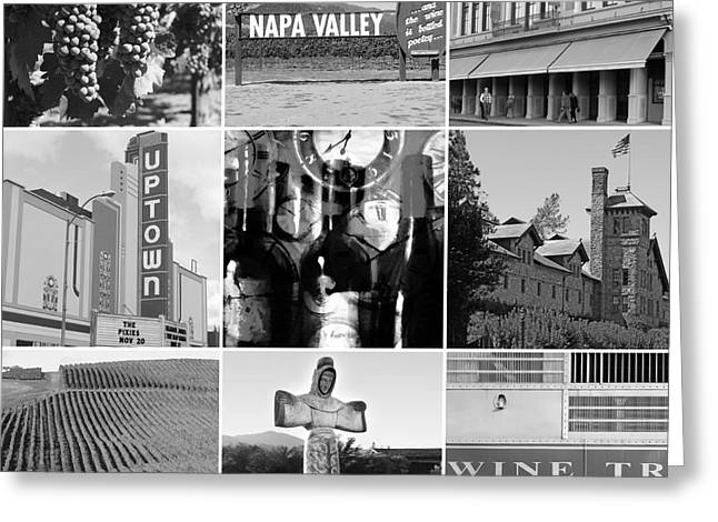 Napa Valley And Vineyards Greeting Cards - Napa Valley Wine Country 20140905 black and white Greeting Card by Wingsdomain Art and Photography