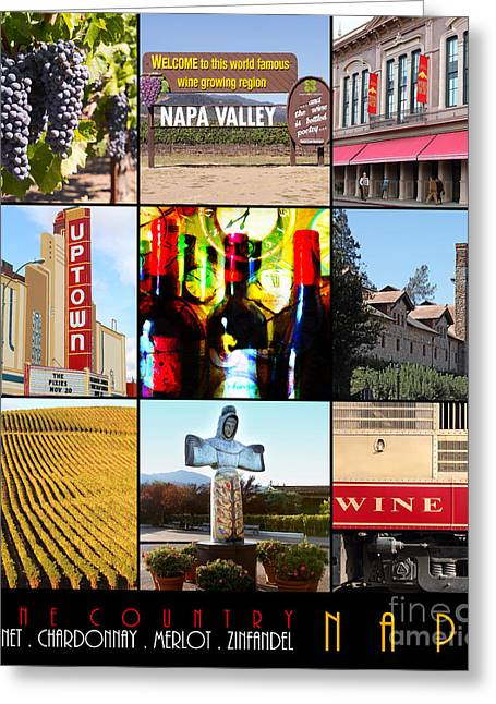 Napa Valley And Vineyards Greeting Cards - Napa Valley Wine Country 20140905 with text Greeting Card by Wingsdomain Art and Photography