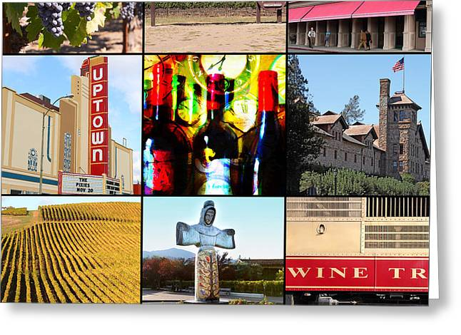 Napa Valley Wine Country 20140905 With Text Greeting Card by Wingsdomain Art and Photography