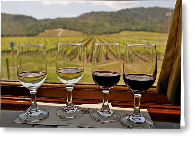 California Wine Tasting Greeting Cards - Napa Valley Wine Train Delights Greeting Card by Michele Myers