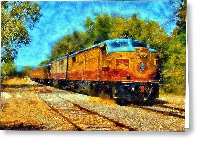 Calistoga Digital Art Greeting Cards - Napa Valley Wine Train Greeting Card by Kaylee Mason