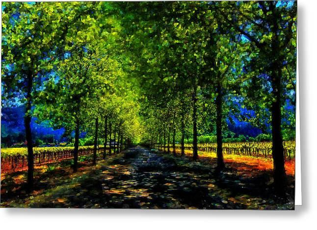 Napa Valley Vineyard Digital Art Greeting Cards - Napa Vineyard 2 Greeting Card by Cary Shapiro