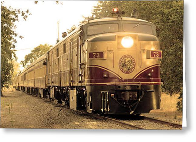 Red Wine Bottle Greeting Cards - Napa Wine Train Greeting Card by Jon Neidert