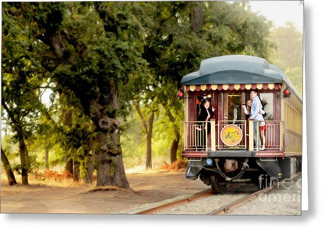 White Grape Greeting Cards - Napa Wine Train Painting Greeting Card by Jon Neidert