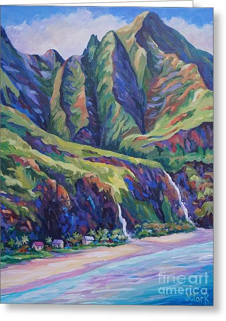 North Shore Paintings Greeting Cards - Napali Coast Evening Colours Greeting Card by John Clark