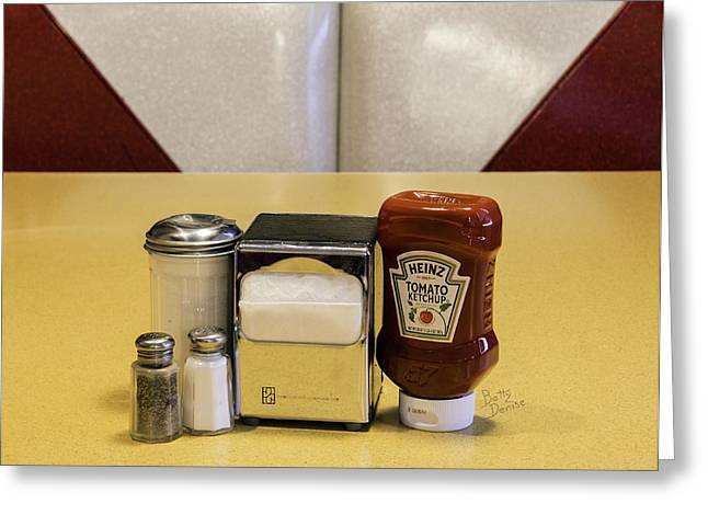 Heinz Ketchup Greeting Cards - Napkins Ketchup Condiments Greeting Card by Betty Denise