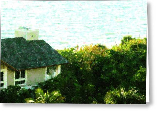 Florida House Mixed Media Greeting Cards - Naples Beach House Greeting Card by Florene Welebny