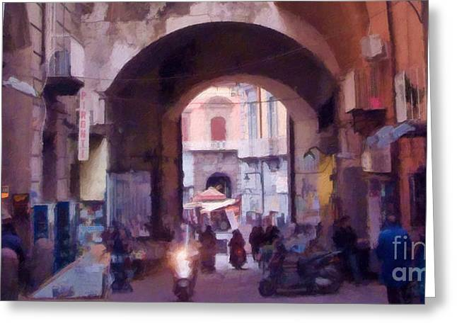 Napoli Greeting Cards - Naples Italy Impression Greeting Card by Lutz Baar