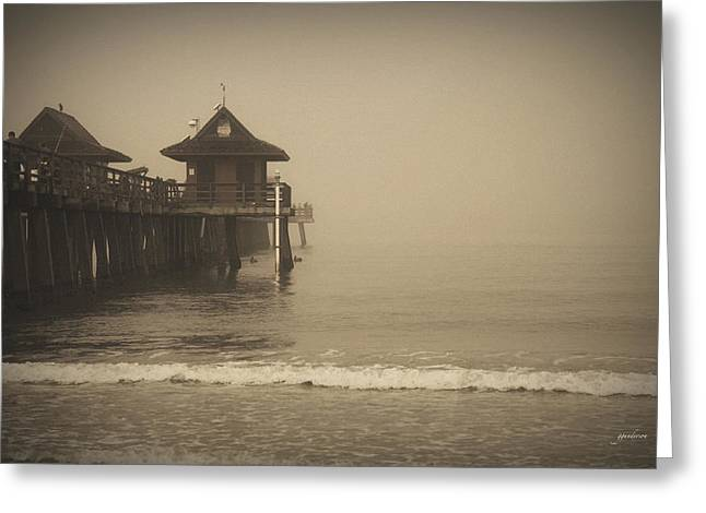 Naples Greeting Cards - Naples Pier In The Fog Greeting Card by Gary Gunderson