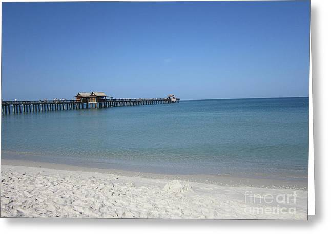 Ocean Images Greeting Cards - Naples Pier Greeting Card by Sharon Patterson