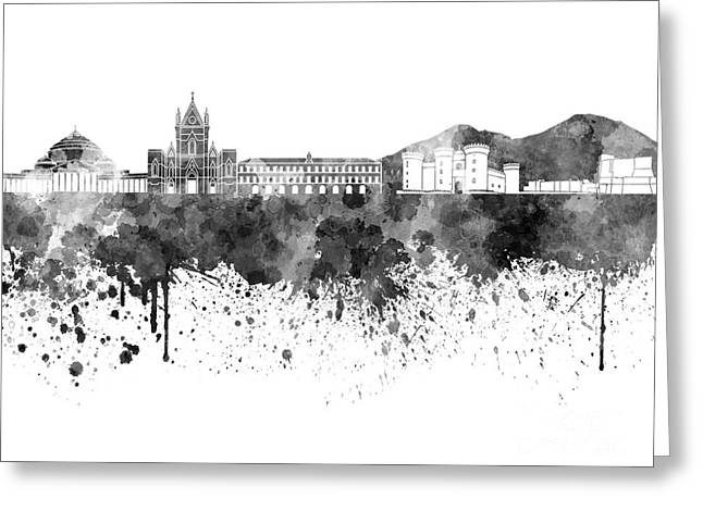 Naples Greeting Cards - Naples skyline in black watercolor on white background Greeting Card by Pablo Romero